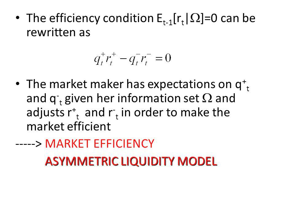 The efficiency condition Et-1[rt|W]=0 can be rewritten as
